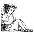 girl reading art vintage engraving vector image vector image