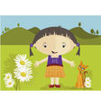 girl with daisies vector image vector image