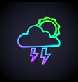 glowing neon line storm icon isolated on black vector image vector image