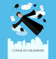 happy graduate student in the sky above the city vector image vector image