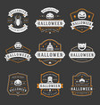 happy halloween labels an badges design set vector image vector image