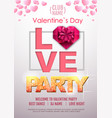 happy valentines day disco party poster vector image vector image