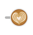 heart drawing on latte cup of delicious coffee vector image