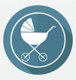 icon baby carriages on white circle with a long vector image
