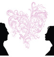 man and woman faces silhouettes vector image vector image