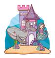 mermaid and undersea castle vector image vector image