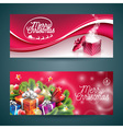 Merry Christmas banner with magic gift box vector image vector image
