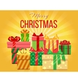 Merry Christmas greeting card with heap of vector image vector image