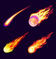 meteorite icons set cartoon style vector image vector image