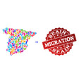 migration composition of mosaic map of spain and vector image