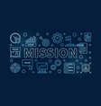 mission blue outline on dark vector image vector image