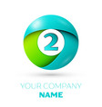 number two logo symbol in colorful circle vector image vector image