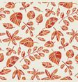 orange autumn foliage decorative seamless pattern vector image vector image