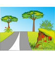 road on year glade amongst beautiful nature vector image vector image