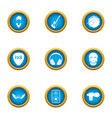rock playlist icons set flat style vector image