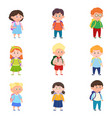 set different cute and happy school kids with vector image vector image