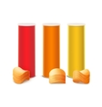 Set of Red Orange Yellow Box with Stack Chips vector image vector image