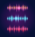 set of three audio equalizer wave symbols vector image