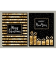 Set of two greeting card Merry Christmas and vector image