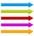 straight 3d arrows in several colors arrow shapes vector image