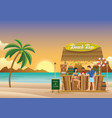 sunset at beach bar vector image vector image