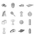 Tennis icons set gray monochrome style vector image vector image