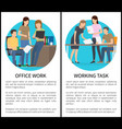 two office work and working task bright cards vector image vector image