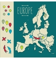 Vintage Hand drawn Europe travel map with pins