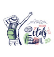 woman tourist waving her hand to italy travel vector image vector image