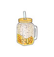 yellow bubble tea with crushed ice in glass jar vector image