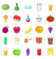asian fruits icons set cartoon style vector image