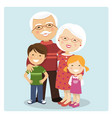 happy grandparents with grandchildren on blue vector image