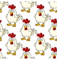 Cute little fat cartoon chicken seamless pattern vector image