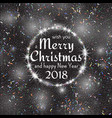 2018 white and black card with merry christmas vector image vector image