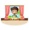 A boy holding a tray of juice vector image vector image
