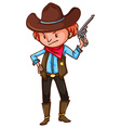 A cowboy with a gun vector image vector image