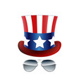 american cowboy usa flag hat and glasses vector image vector image
