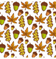 autumn background seamless pattern with acorns vector image vector image