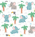 baelephants seamless pattern cartoon elephants vector image vector image