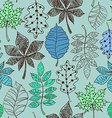Blue Seamless Pattern Of Patterned Autumn Leaves vector image vector image