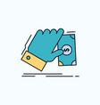 business hand money earn dollar flat icon green vector image