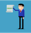 businessman showing a loan agreement vector image