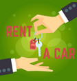 car rent hand holding car key vector image