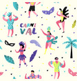 carnival seamless pattern with dancing people vector image vector image