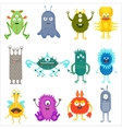 Cartoon cute color animals monsters aliens set vector image vector image