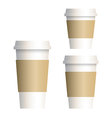 coffee cup 3 size vector image vector image