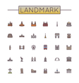Colored Landmark Line Icons vector image vector image