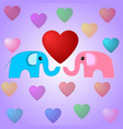 cute elephants and hearts vector image vector image