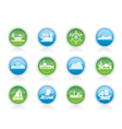 different types of boat and ship icons vector image vector image