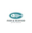 fish on dish seafood restaurant logo design vector image vector image